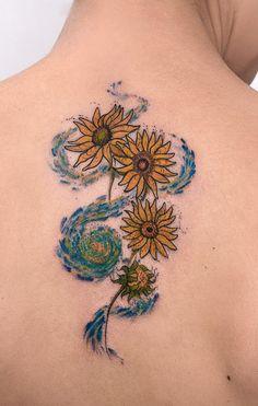 Tattoo Rob Carvalho Art inspiration Van Gogh – Tattoo World Sunflower Tattoo Sleeve, Sunflower Tattoo Shoulder, Sunflower Tattoo Small, Sunflower Tattoo Design, Pretty Tattoos, Unique Tattoos, Beautiful Tattoos, Small Tattoos, Artistic Tattoos