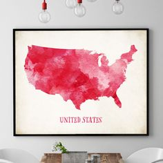 World map poster watercolour world map print world map wall art red us map wall art us map print united states map poster map gumiabroncs Choice Image