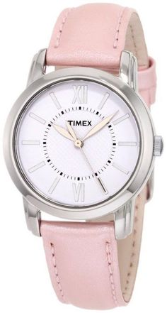 Timex T2N684 Women's Watch Pink Metallic Leather Band Uptown Chic Dress