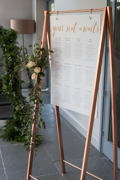 Bespoke copper table plan stand - hanging board on frame with copper foil vinyl details Wedding stationery and styling by Rose Paper Scissors plan copper inspired wedding stationery and styling at Blackwell Grange Wedding Centerpieces, Wedding Favors, Diy Wedding, Wedding Events, Copper Wedding Decor, Wedding Supplies, Wedding Tips, Elegant Wedding, Perfect Wedding