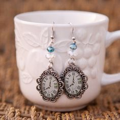 Dangle Earrings with Tibetan Silver Clock Charms & by TheKraftBox, $9.99
