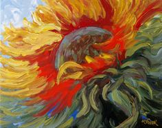 Abstract Impressionist Sunflower Bloom Impasto by MonaVivarFineArt, $75.00