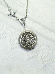 Silver Locket Necklace - Victorian Celtic Garden Locket - by BirdzNbeez - Celtic Wedding Bridesmaids Graduation Birthday