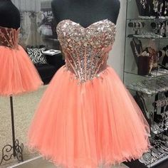 J141 heavy handmade beaded short homecoming dresses, cheap tulle short prom…