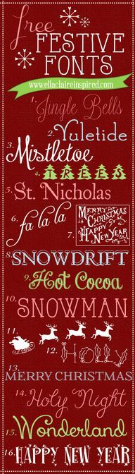 Festive holiday fonts #Christmas