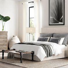 34 Ideas Bedroom Dark Brown Furniture Side Tables For 2019 Bedroom Sets, Home Decor Bedroom, Master Bedroom, Bedroom Inspo, Restoration Hardware Bedroom, Dark Brown Furniture, Home Interior, Interior Design, Bedroom Pictures