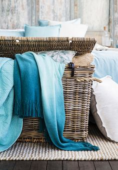 Home Beautiful Magazine Australia features some of our timeless island-style homewares in the latest October issue. Cottages By The Sea, Beach Cottages, Storage Trunk, Shades Of Turquoise, Style Challenge, Coastal Cottage, Rattan, Australia, Magazine
