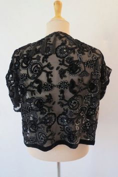 Black Fringed Sequined Bolero by LouisaAmeliaJane on Etsy