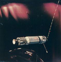 Satelite in Earth's orbit taken from Gemini 8, March 1966. chromogenic print on Kodak paper. NASA.