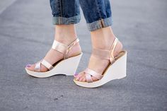 CP- 50 Criss Cross Metallic Strap Wedge Sandal