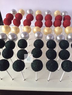 Cake pops /Sophia Mya Cupcakes/1920's inspired cake pops in gold, silver, red and black