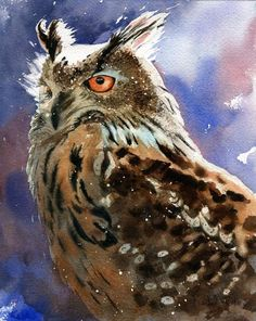 Print of Watercolor painting of Owl by rachelsstudio on Etsy