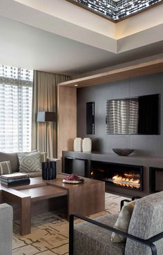 Fantastic Penthouse Design with the Best Furniture: Fantastic Living Room Modern Fireplace Subtle Opulence Penthouse