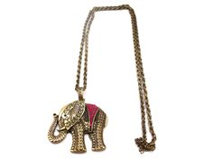 Vintage Style Elephant Pendant Long Necklace