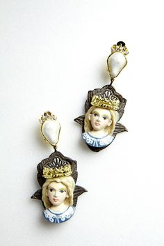 77th: Vintage Doll Metal Lace Earrings
