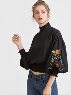 SheIn offers Black Flower Embroidered Lantern Sleeve Shirred Hem Blouse & more to fit your fashionable needs. For Elise, High Neck Blouse, Mode Chic, Floral Blouse, Ruffle Blouse, Ruffle Sleeve, Flutter Sleeve, Ruffle Top, Ruffle Collar