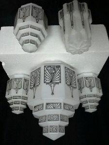 Set 5 Art Deco Octagonal Milk Glass w Black Floral Hanging Shade           $600!
