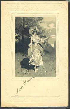 ~HB054 FEMME MARQUISE MEDAILLON FANTAISIE Gaufrée RELIEF 1902~