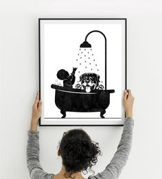 Bathroom print, Baby and dog wall art, Pregnancy announcement, Baby and Rottweiler in tub, Christmas gift, Clawfoot tub, Instant download