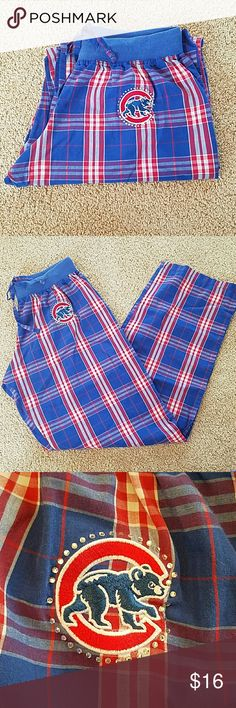 """MLB Ladies CUBS Sz Small Plaid Pajama Bottoms Brand: Major League Baseball Genuine Merchandise  Item: *Blue & Red Plaid Cotton Pajama PJ Pants *Embroidered Cubs Logo on Top Left Front with Rhinestones  Marked Size: Small  Measurements: Waist Flat - 13"""" Rise - 9.5"""" Inseam - 30""""  Materials: 55% Cotton, 45% Polyester  Condition: Light Fading on the knit Waistband, Otherwise Excellent Pre-Loved Condition  *no trades, offers via offer button only* MLB Intimates & Sleepwear Pajamas"""