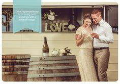 Think rustic with a twist of vintage... www.papamoabeachweddings.co.nz