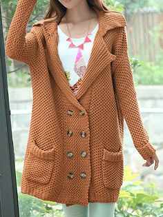 Amazing Turn-Down Collar Full Sleeve Double Breasted Loose Knitted Women Long Cardigan Sweater on buytrends.com
