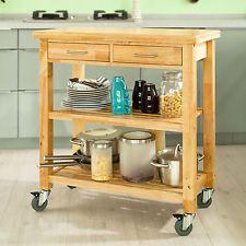 SoBuy® Rubber Wood Kitchen Trolley ...
