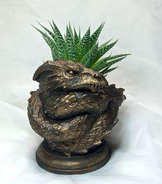 Coiled Dragon Planter Bronze Finish by Dellamorteco on Etsy