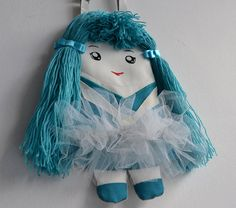 Lovely ballerina with turquoise hair. In tulle by NinuMiluBagDolls,