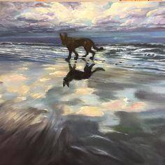 This #sunset and #silhouette of a #germanshepherd Titus.  I do believe #animals are a subject that I can #paint for the rest of my life.  #sky #nature #dogs #love #beautiful #oil #oilpainting #painting  #dogsofinstagram #dogportrait #dogdrawing #petportraitart #petportrait #animalart #dogartist #dogportrait #furbabies
