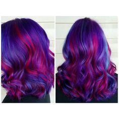 Rainbow hair. Pink hair. Purple hair. Blue hair.