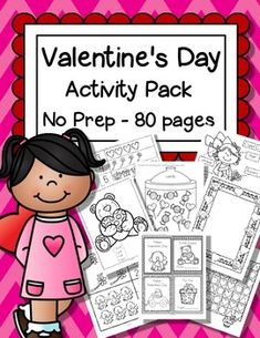Valentine's Day - just print and that's it! No prep hands-on printable activities for preschool, pre-K and early Kindergarten children. Songs, numbers, letters, shapes, posters, cards, more... All in b/w, 80 pages.