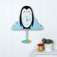 Elvis the Elephant Wooden Wall Blue Clock Kids fun Gift