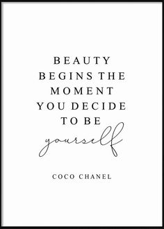 To Be Yourself Fashion Posters, Coco Chanel, In This Moment, Beauty, Beauty Illustration