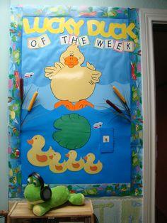 """My """"Lucky Duck of the Week"""" Bulletin Board. Kindergarten Door, Preschool Bulletin, Preschool Crafts, Toddler Classroom, Classroom Door, Classroom Themes, Classroom Design, Preschool Painting, Star Students"""