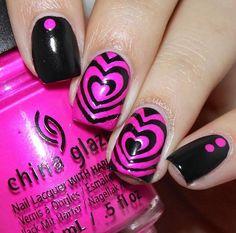"Fabulous neon nails by @aanchysnails using our I ""Heart"" Swirls Nail Vinyls found at snailvinyls.com"