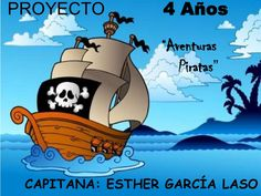 Pirate ship with island silhouette - illustration. Ap Spanish, Spanish Lessons, Spanish Class, Die Cut Business Cards, Esther Garcia, Letterpress Invitations, Under The Sea Party, Creative Business, Crafts For Kids