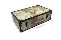 Antique Vintage Map Suitcase Design Home Office Storage B…