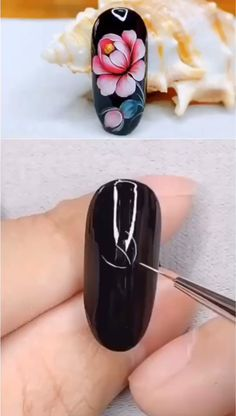 Hand painted rose flower nails ideas,Simple nails art design video Tutorials Compilation Part 52 - Christmas Nail Art Designs Nail Art Flowers Designs, Nail Art Designs Videos, Gel Nail Art Designs, Nail Design Video, Nail Art Videos, Simple Nail Art Designs, Nails Design, Art Simple, Rose Nail Art