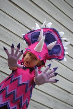 Girls Purple Dinosaur costume. Adorable! This listing is just for the gloves, as the costume one is sold out atm.