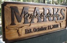 Personalized Family Name Signs Longhorn Rustic Texas Cattle Wedding Wood Plaque…