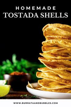 These homemade tostada shells are freshly fried, perfectly crunch and a delicious alternative to your typical Taco Tuesday recipes. Get this recipe for tostada shells at Burrata and Bubbles. #homemadetostadashells #tacotuesdayrecipes #tostadashells #tostadarecipes #friedtostadas Easy Party Food, Dinner Party Recipes, Party Food And Drinks, Beef Appetizers, Healthy Appetizers, Appetizer Recipes, Best Vegan Snacks, Mexican Food Recipes, Spanish Recipes