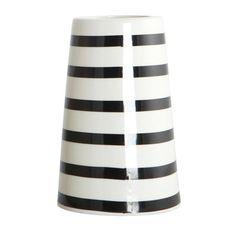Vase  Black  White Stripes: Black and white striped ceramic vase. Diameter 6/9.5cm, height 14cm.