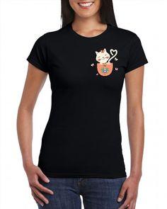 16.00$  Watch now - http://vigxj.justgood.pw/vig/item.php?t=3kb462r20482 - Pocket Cat Ladies T-shirt Cool Funny Cat Lovers Girls Women Top Tee