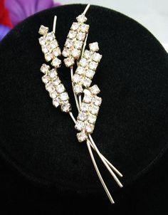 SHAFTS of WHEAT RHINESTONE FLOWER BROOCH Vintage PIN Goldtone Broach | eBay $10.99
