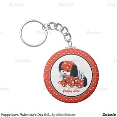 Puppy Love. Funny Puppy design Valentine's Day Gift Keychains for kids with a vintage postcard puppy image. Matching cards, postage stamps and products available in the Holidays / Valentine's Day Category of the oldandclassic store at zazzle.com