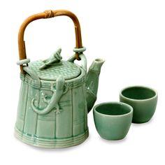 Ceramic tea set (Set for 2) - Cricket and Gecko in Green | NOVICA