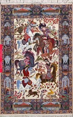 Buy Esfahan Persian Rug X Authentic Esfahan Handmade Rug Textured Carpet, Patterned Carpet, Persian Carpet, Persian Rug, Iranian Rugs, Iranian Art, Green Carpet, Dark Carpet, Beige Carpet