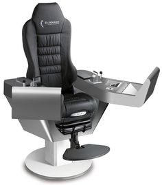 COMMANDER XXL - Operator seat / for ships / with built-in pilot console / high-back by Cleemann Chair-Systems Simple Computer Desk, Computer Workstation, Gaming Desk, Gaming Room Setup, Pc Setup, Flight Simulator Cockpit, Pc Table, Video Game Rooms, Gaming Station
