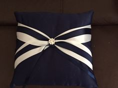 Rental- White and Navy Blue Beautiful Ring Bearer Pillow!  (1 in stock)